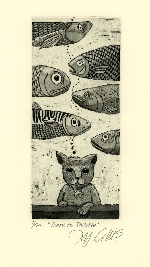 Dare to Dream art print etching with cat by mariannjohansenellis, $35.00