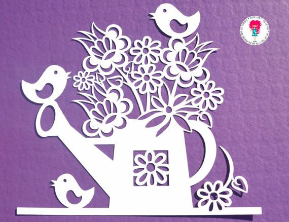This is my first draft of the watering can paper cut template. I have since slightly amended it and cut it again. The finished template is now available in our shop!