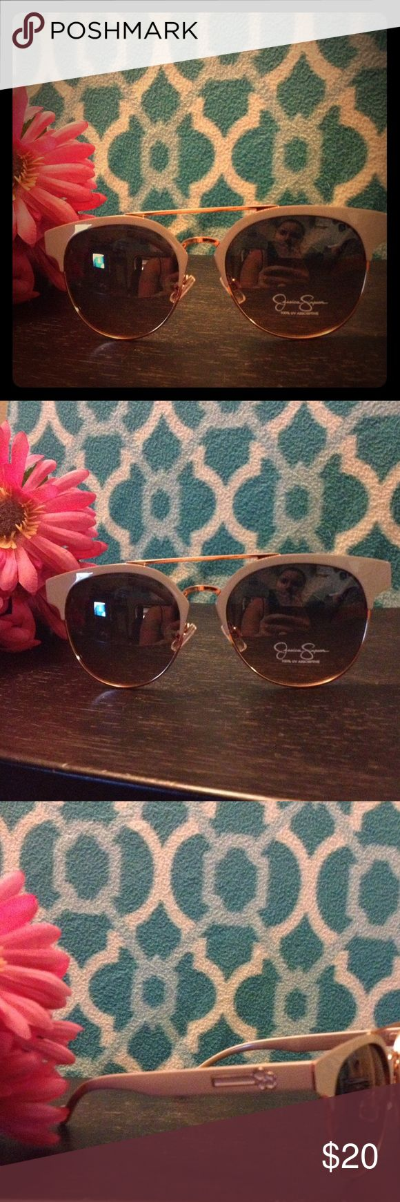 ✨Jessica Simpson Retro Sunglasses✨ Jessica Simpson Retro style sunglasses, gold color under frame and midsection, taupe top frame and sides, Jessica Simpson logo on sides. Side cushions for nose, comfortable and super cute!✨✨✨ #retro #jessicasimpson Jessica Simpson Accessories Glasses