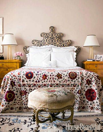 Venetian Headboard in a Master Bedroom  Jonathan Berger was inspired by an 18th-century Venetian bed when designing the intricate headboard in this master bedroom.