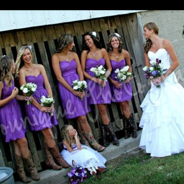 This is EXACTLY how I want my bridesmaids to look. Purple dresses and cowboy boots. :)