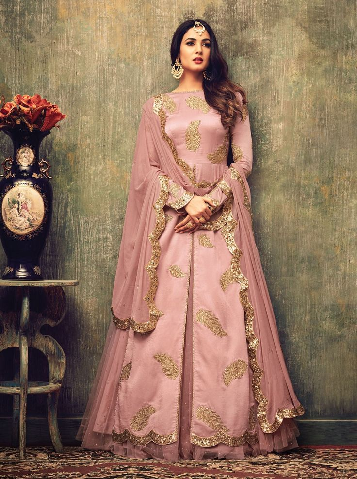 Rose pink Gold Designer Salwar Suit