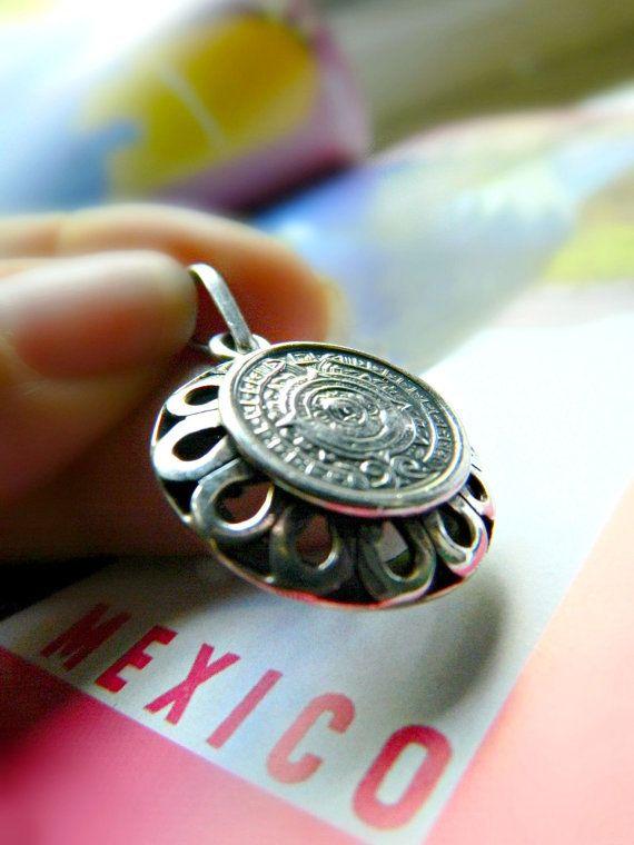 Sterling Silver Aztec Pendant Vintage / Mexico