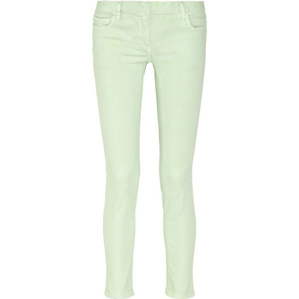 Balmain Low-rise skinny jeans ($130) ❤ liked on Polyvore featuring jeans, pants, balmain, bottoms, calças, mint, green jeans, mint green jeans, mint jeans and cut skinny jeans