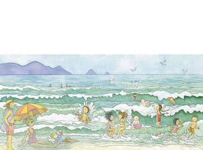 `...we swim in the sparkling sea` From 'Are we there yet?' by Alison Lester.
