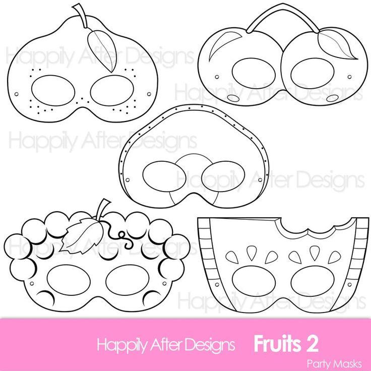 Fruits 2 Printable Coloring Masks, avocado mask, cherry