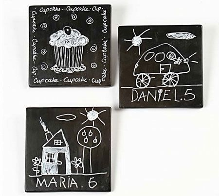 I like the idea of using leftover tiles from a project to make these easy chalkboards. The kids can use them for drawing, you can mount onto the wall as mini notice boards or as decor accessories. Grab a can of Rust-Oleum Chalkboard spray paint and let's get started... http://www.home-dzine.co.za/crafts/craft-chalktiles.htm