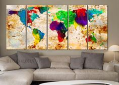 """XLARGE 30""""x 70"""" 5 Panels 30""""x14"""" Ea Art Canvas Print World Map Original Watercolor texture Old Wall Home Office decor (Included framed 1.5"""" depth)"""