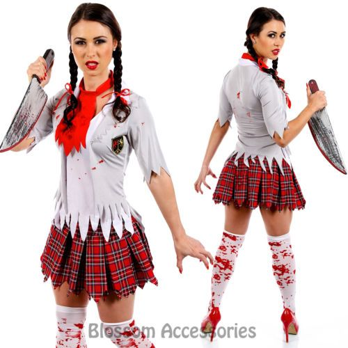 I91-Zombie-Bloody-School-Girl-Fancy-Dress-Horror-Scary-Halloween-Costume-Outfit