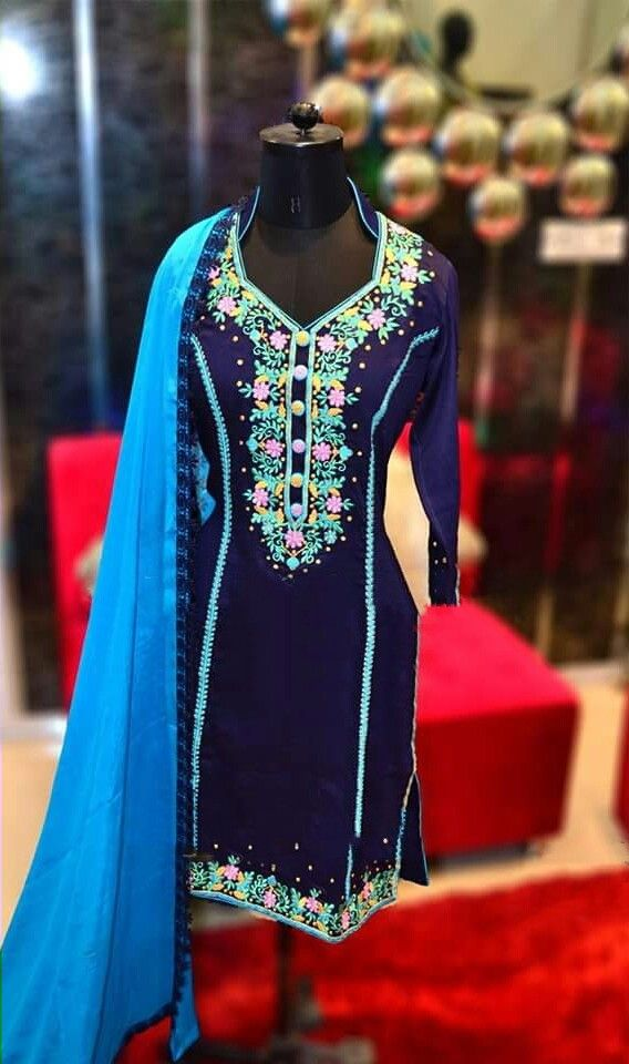 Machine Embroidered Pure Cotton Suit in Royal Blue Color With Pure Chinon Chiffon Dupatta
