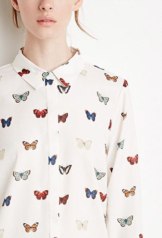 Butterfly Print Shirt | LOVE21 - 2000172154