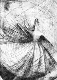 Tancerka, grafika, sucha igła