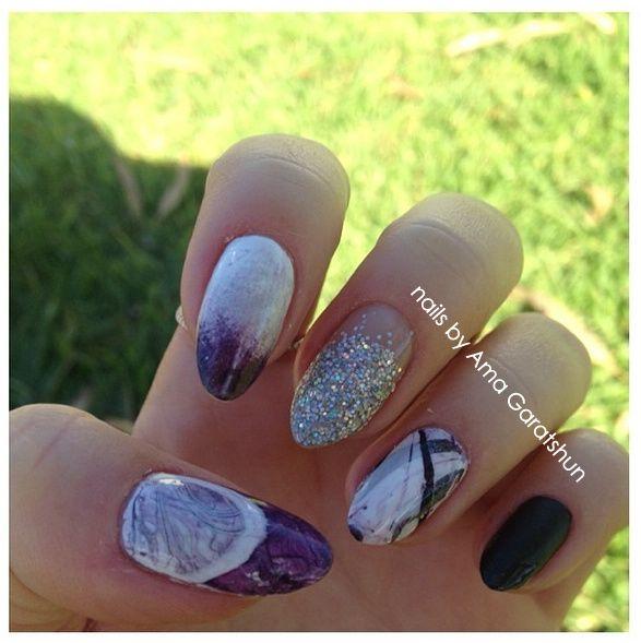 First attempt at water marbling nail art by Ama Garatshun