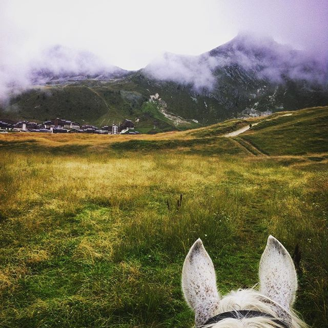 Instagram media by waenelin - Misty morning today @la_plagne over Belle-Plagne... But it made for vibrant colors and interesting landscapes.☁️ #latergram #laplagne #mountains #horseguide #summerjob