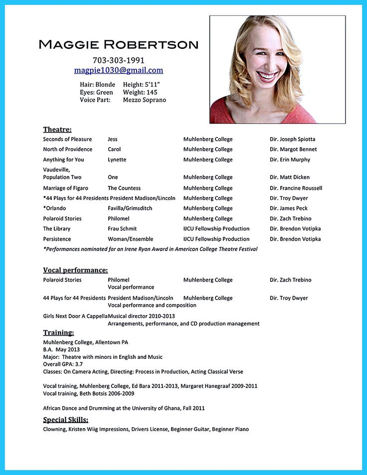 Acting resume sample presents your skills and
