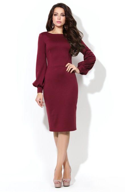 Elitdress.ru - Интернет магазин модной одежды, обуви и аксессуаров - Трикотажные платья - Трикотажное платье винного цвета