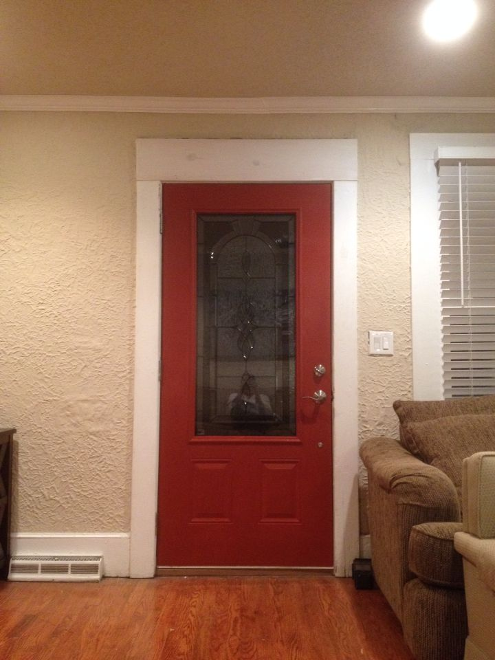 Sherwin Williams Fired Brick Red Front Door Inside