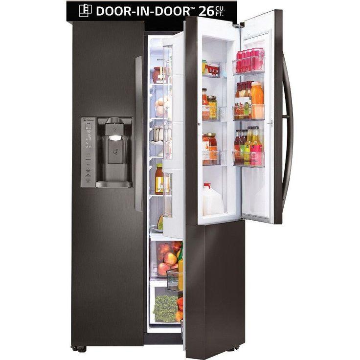 LG 36 Inch Side-by-Side with Door-in-Door Refrigerator - Black Stainless Steel