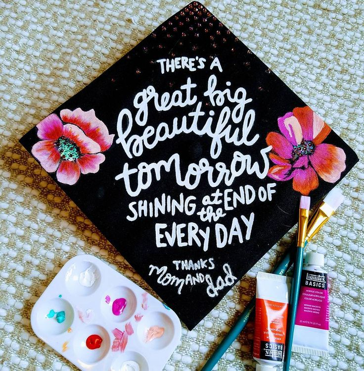"""Hand painted Disney themed graduation cap finished. Please like my photo on Instagram. Quote from Carousel of Progress """"there's a great big beautiful tomorrow shining at the end of every day""""  Instagram: @lindseysstitches"""