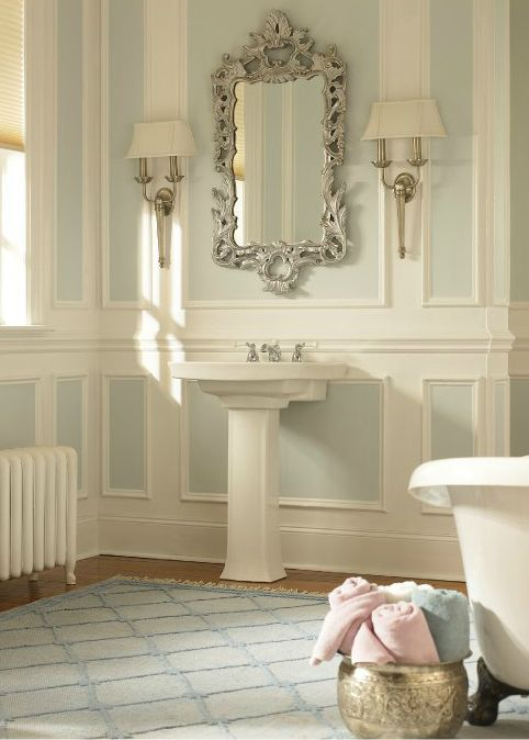Soothing Light Blue, Like BEHR Streetwise, Makes The Base For This Spa Like  · Classic BathsBathroom Paint ColorsBehr ...