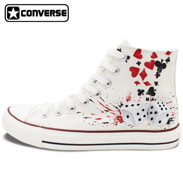 Diseño personalizado zapatillas converse all star poker dados zapatos de lona pintados a mano zapatillas blancas increíbles regalos para hombres mujeres