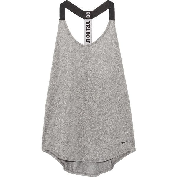 Nike Mesh-trimmed Dri-FIT stretch-jersey tank ($35) ❤ liked on Polyvore featuring activewear, activewear tops, grey, stretch jersey, nike activewear, nike and nike sportswear