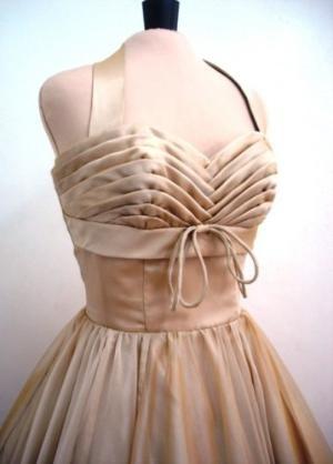 A chiffon 50s cocktail dress in almond custom | Elegance50s - Clothing on ArtFire