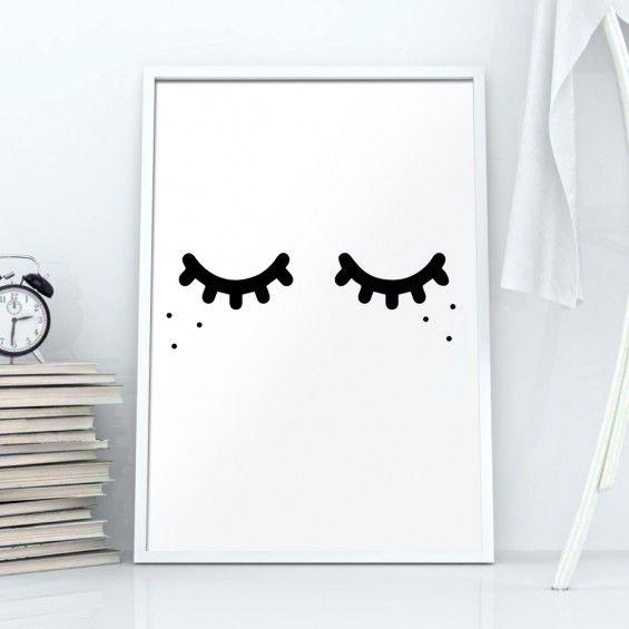 Ilustracja Śpiące oczka // zamknięte oczy - Printlove - grafiki do wnętrz, ilustracje dla dzieci, plakaty. -