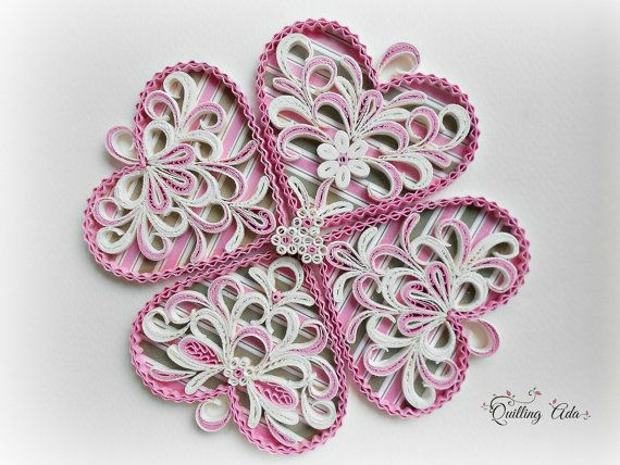 Quilled lucky clover-quilled heart-Valentine's by PaperArtbyAda