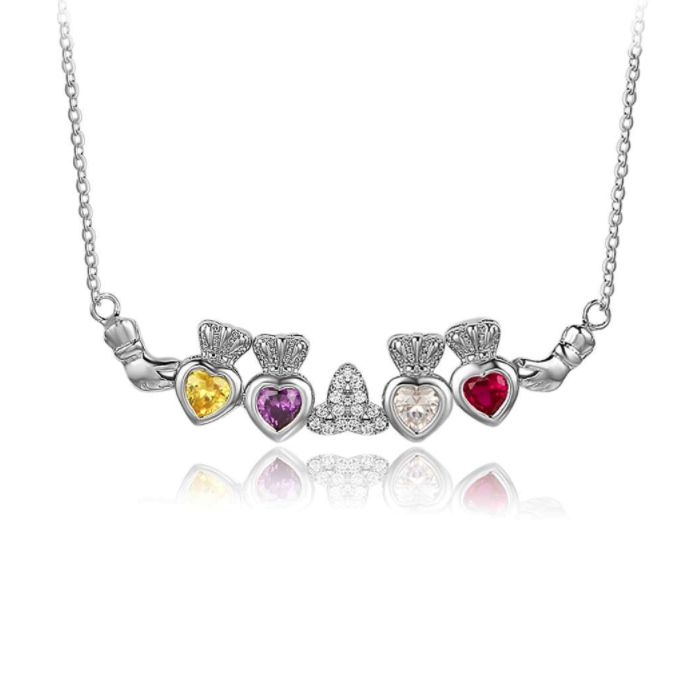 Post Included Aus Wide and to most international countries! >>>  Claddagh Quartet Birthstone Hearts Necklace - 925 Sterling Silver