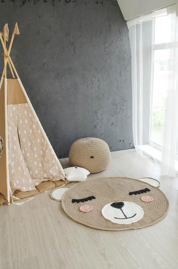 Teddy Bear Rug Nursery Crochet Area