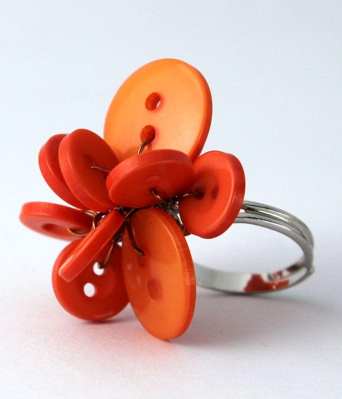 Poppy ring - mandarin orange