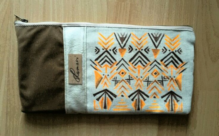 Indian summer clutch_hand painted canvas.
