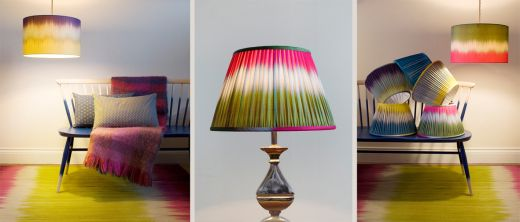 Modern Ikat Lampshade Collection with Copper & Silk and Ptolemy Mann