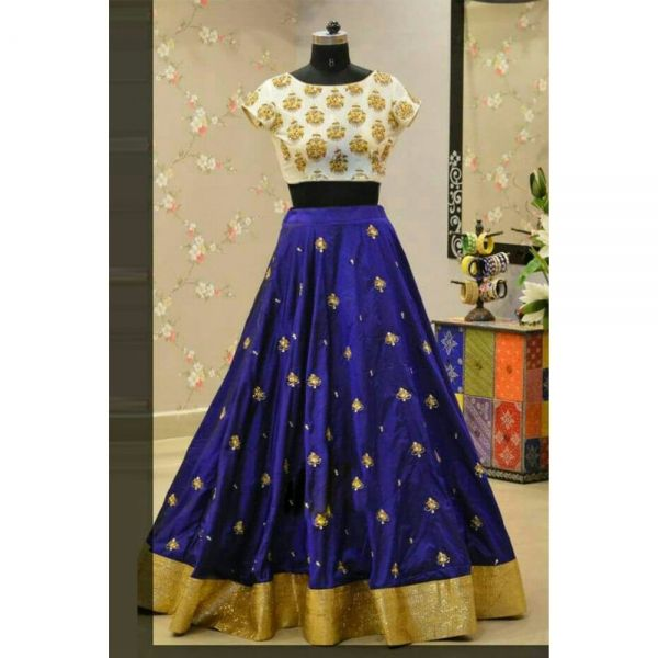 Buy Blue White Satin Designer Lehenga Online at cheap prices from Shopkio.com: India`s best online shoping site