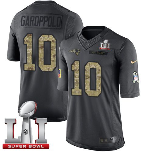 Nike Patriots #10 Jimmy Garoppolo Black Super Bowl LI 51 Men's Stitched NFL Limited 2016 Salute To Service Jersey