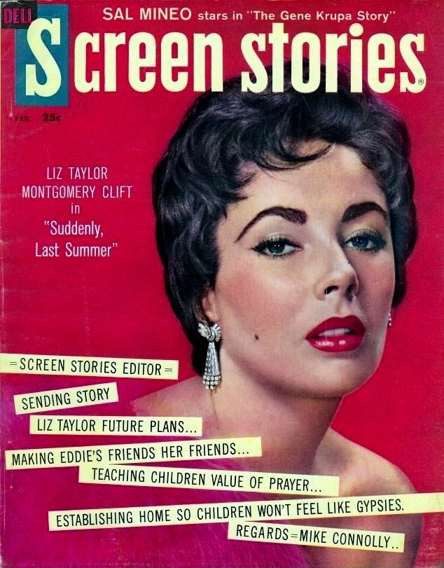 "Cover of Dell's ""Screen Stories"" (February 1960), featuring Elizabeth Taylor."