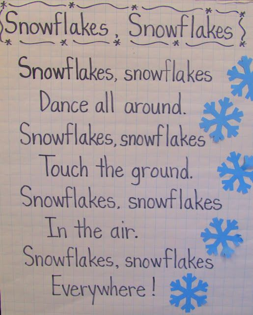 Wintery rhyme for kids. Snowflakes, snowflakes poem.