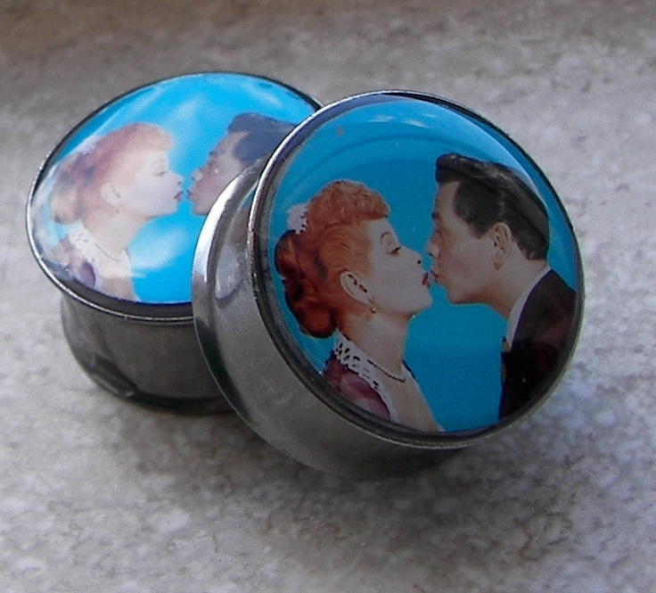 "Lucy & Ricky Kissing Plugs - One PAIR - Sizes 2g, 0g, 00g, 7/16"", 1/2"", 9/16"", 5/8"", 3/4"", 7/8""- Made To Order. $18.00, via Etsy."