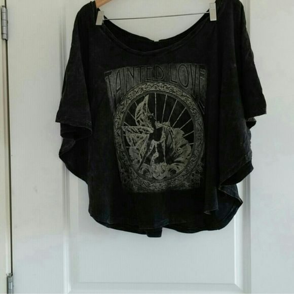BATWING Extreme Off shoulder Rebel Rock shirt Never worn. Size medium Very off the shoulder top...meant to hang over alot. Batwing style...distressed look. Coolest graphic and fit. Rock this out with leather leggings or denim skinnies. Tops