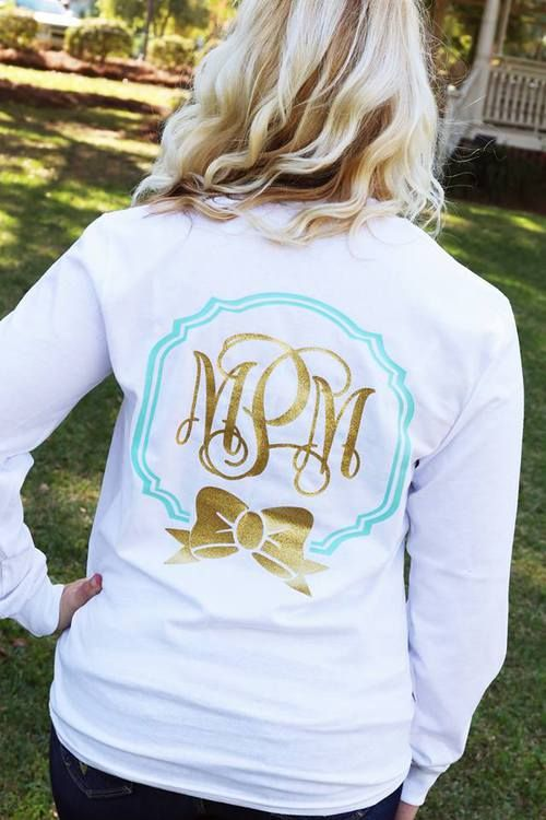 white shirt with mint border and gold glitter initialsbow