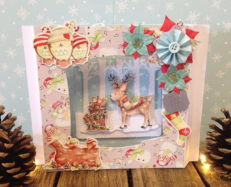 Helz Cuppleditch Winter Woodland 3D Scene Card Tutorial