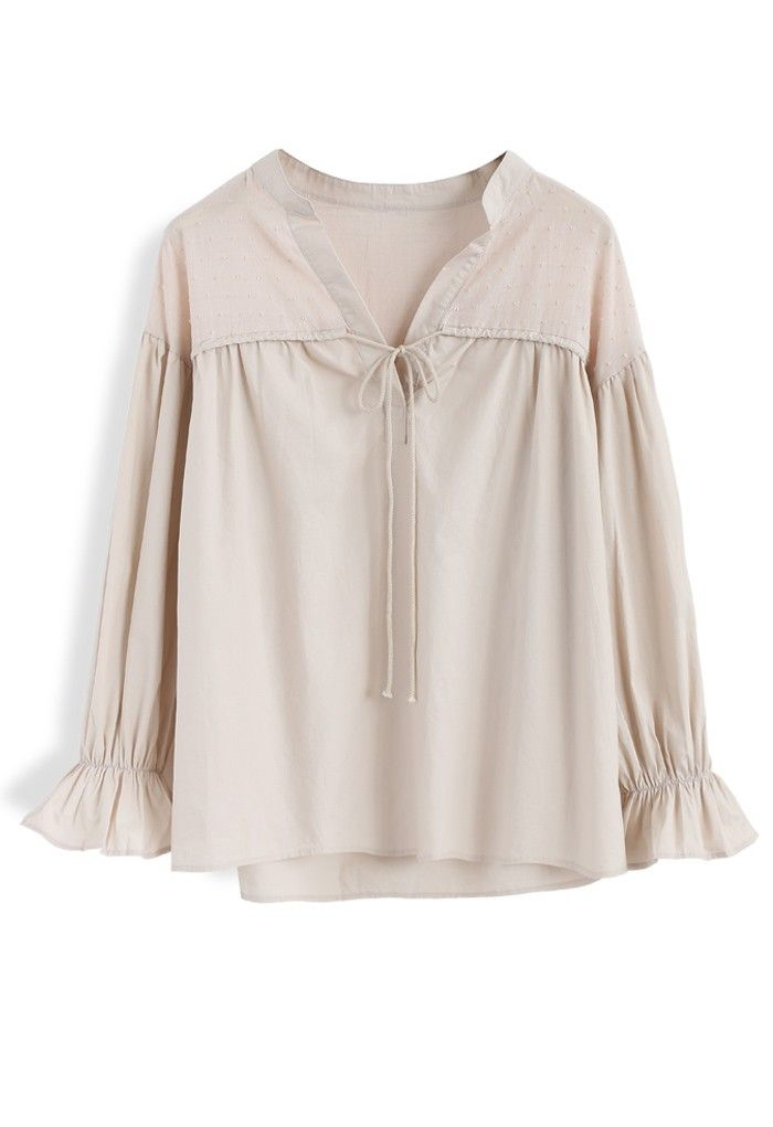 Leisure Code Smock Top in Nude - New Arrivals - Retro, Indie and Unique Fashion