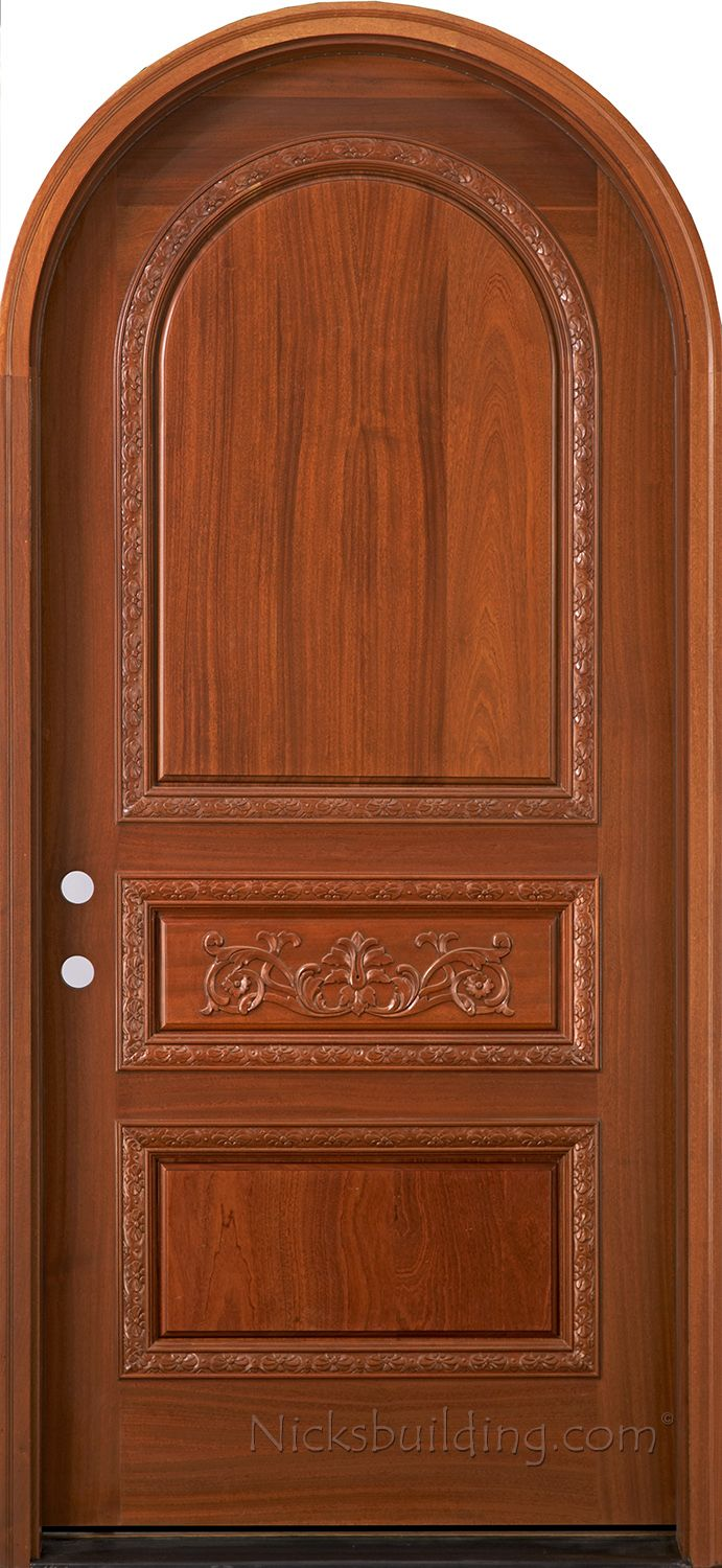Round top pre hung mahogany doors top of the line - Hand Carved Arched Tuscany Door With Round Top Design Solid Mahogany Round Top Exterior Doors With Carved Accent Moldings