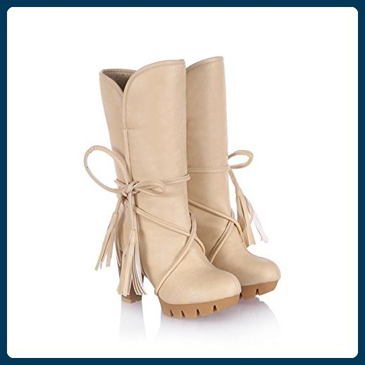 Damen High Heel Mittler-Kalb Kreuz Gebunden Brown Pleather Dicke Fell Winter Stiefel Kleid Stiefel (33.5, beige) - Stiefel für frauen (*Partner-Link)