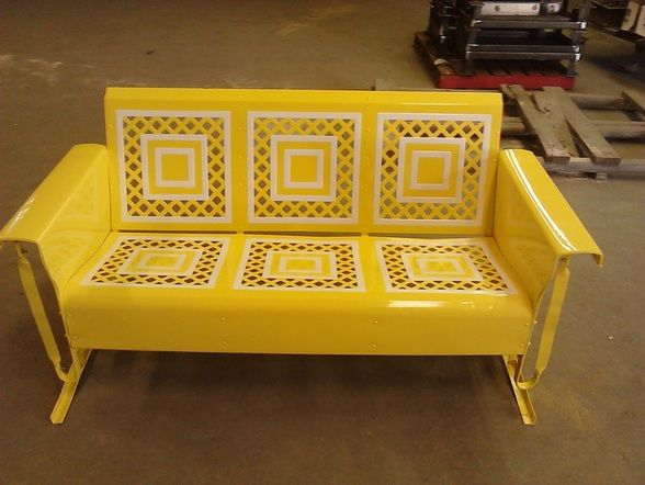 Powdercoated Sunny Yellow Lattice Style Metal Vintage Porch Glider.#012333  $1500(Includes Shipping
