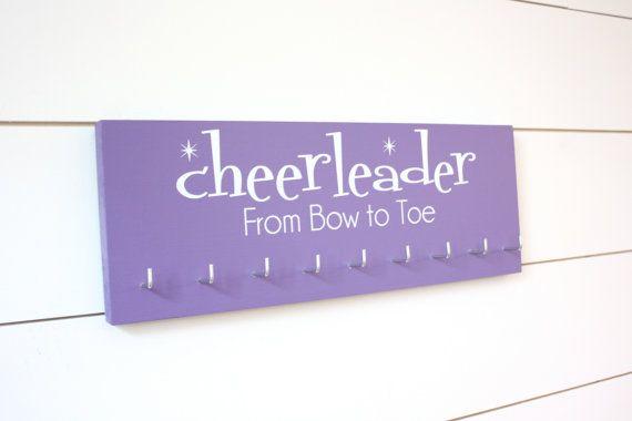 Cheerleading Medal Holder / Display - Cheerleader From Bow to Toe - Medium