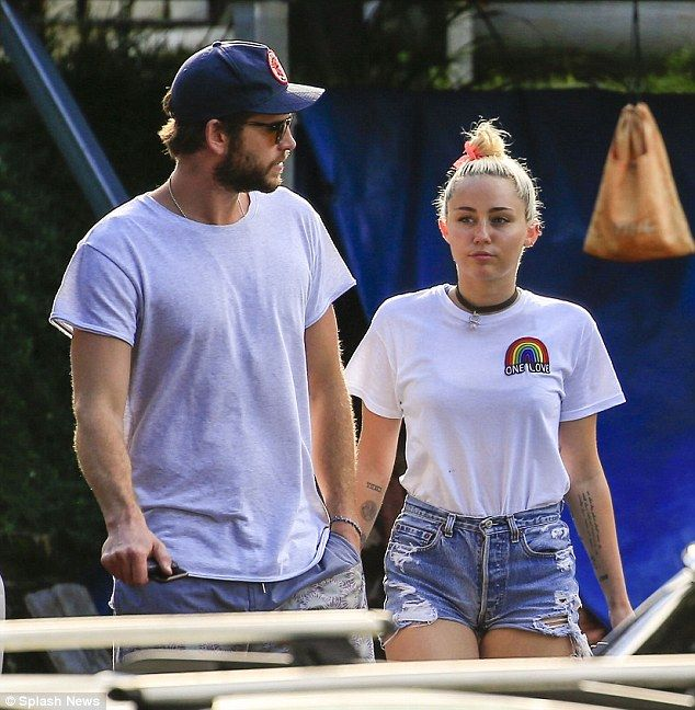 Getting serious again: Miley Cyrus and on-again boyfriend Liam Hemsworth went to lunch in Byron Bay, Australia on Thursday