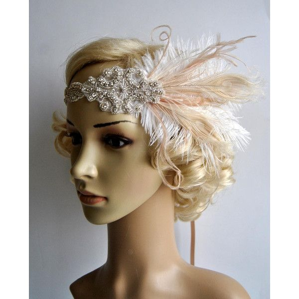 Champagne ivory1920'S Rhinestone Feather Flapper Headband Bridal Head... ($65) ❤ liked on Polyvore featuring accessories, hair accessories, gold, headbands & turbans, rhinestone bridal headband, 1920s headband, 1920s hair accessories, bridal headband and fascinator hats