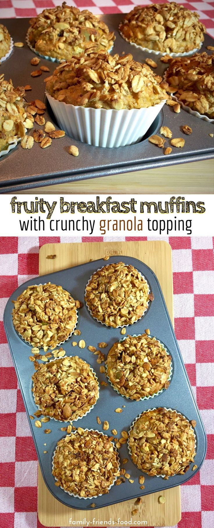 Packed with fruit & veg, these deliciously moist breakfast muffins are low in fat and contain no added sugar. A perfectly healthy start to the day! #breakfast #baking #muffins #healthy